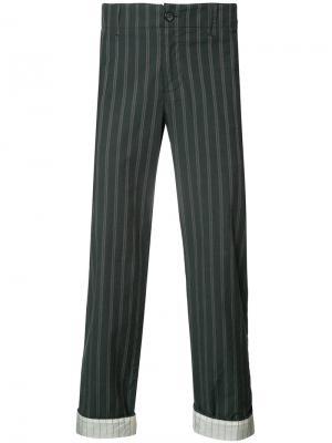 Тканые брюки в полоску Undercover. Цвет: чёрный