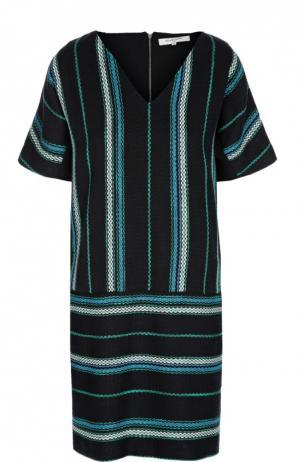Вязаное прямое платье с V-образным вырезом Gerard Darel. Цвет: темно-синий