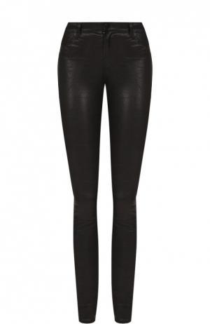 Кожаные брюки-скинни с декоративными молниями J Brand. Цвет: черный