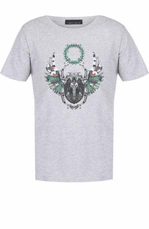 Хлопковая футболка с принтом Frankie Morello. Цвет: серый