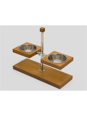 Подставка для кормления животных (дерево) с регулировкой 2*1,9л Doggy Style. Цвет: коричневый