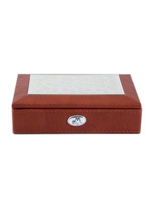 Шкатулка ювелирная MORETTO. Цвет: коричневый, светло-серый, серебристый