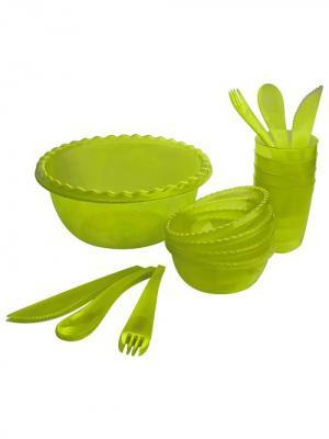 Набор для пикника Фазенда на 4 персоны Plastic Centre. Цвет: салатовый