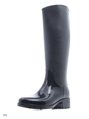 Резиновые сапоги Королева. Цвет: черный