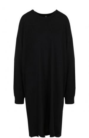 Шерстяное платье свободного кроя с длинным рукавом Yohji Yamamoto. Цвет: черный