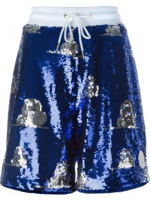 Декорированные шорты с пайетками Joyrich. Цвет: синий
