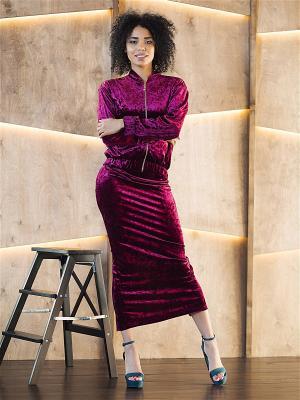 Бархатный костюм из юбки с бомбером Seven Devils. Цвет: темно-бордовый, бордовый, малиновый