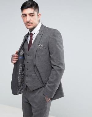 Harry Brown Серый облегающий пиджак в клетку. Цвет: серый
