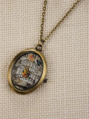 Кулон-часы Птички в клетке Mitya Veselkov. Цвет: бронзовый