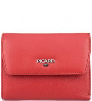 Красный кошелек из натуральной кожи Picard. Цвет: красный