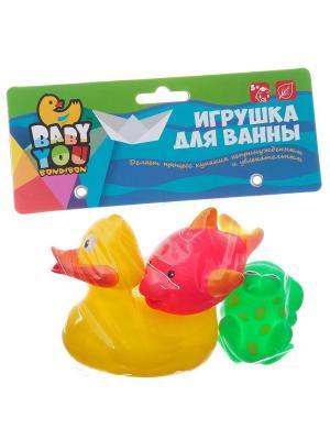 Набор для купания, Bondibon, утенок, лягушка, дельфин, 3 шт. BONDIBON. Цвет: зеленый, оранжевый, розовый, желтый, синий