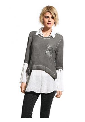 Комплект: кофточка + блузка Mandarin. Цвет: оливковый, серо-коричневый, серый меланжевый, синий