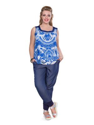 Блузка Eva Graffova. Цвет: синий