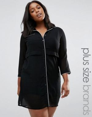Praslin Платье-рубашка с контрастным кантом Plus. Цвет: черный