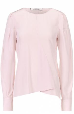 Шелковая блуза асимметричного кроя с вырезом-капелька Dorothee Schumacher. Цвет: светло-розовый