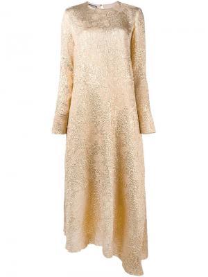 Асимметричное платье с эффектом металлик Rochas. Цвет: металлический