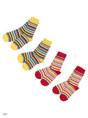 Носки, 4 пары Malerba. Цвет: красный, желтый