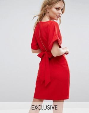 Closet London Платье миди с завязкой сзади и разрезом спереди. Цвет: красный