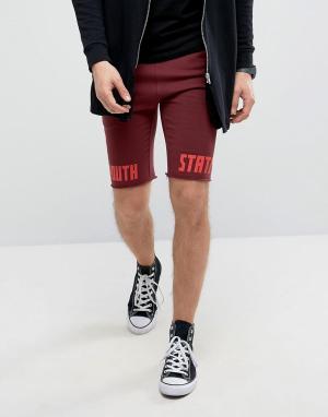 ASOS Супероблегающие трикотажные шорты с принтом. Цвет: красный