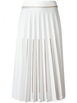 Плиссированная юбка с вырезными деталями Ssheena. Цвет: белый