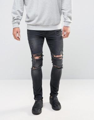 ASOS Черные выбеленные джинсы скинни с прорехами. Цвет: черный