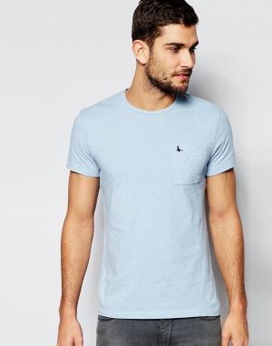 Jack Wills Голубая футболка слим с карманом. Цвет: синий