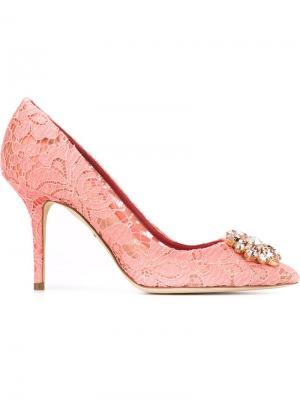 Декорированные кружевные туфли Dolce & Gabbana. Цвет: розовый и фиолетовый