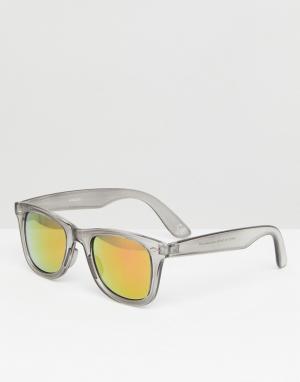 ASOS Солнцезащитные очки в черной квадратной оправе с красными стеклами ASO. Цвет: черный