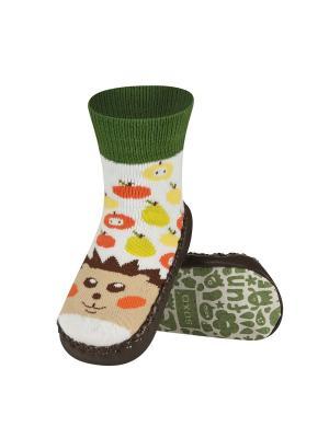 Тапочки-носочки детские SOXO. Цвет: зеленый, коричневый, белый
