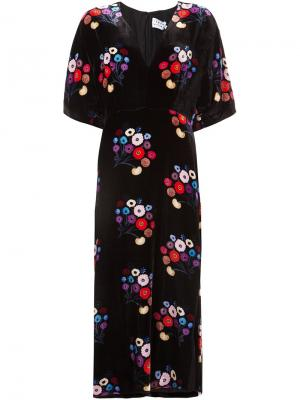 Kimono style floral print dress Tanya Taylor. Цвет: чёрный