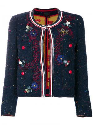 Твидовый жакет с вышивкой Femme By Michele Rossi. Цвет: синий