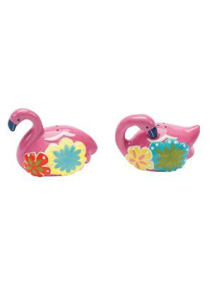 Набор: солонка и перечница Flamingo & Friends BOSTON. Цвет: зеленый, розовый