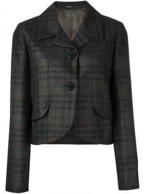 Укороченный пиджак в клетку Maison Margiela. Цвет: чёрный