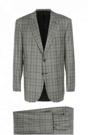 Шерстяной костюм в клетку Prince of Wales Brioni. Цвет: серый