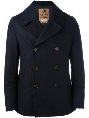 Короткое двубортное пальто Sealup. Цвет: синий