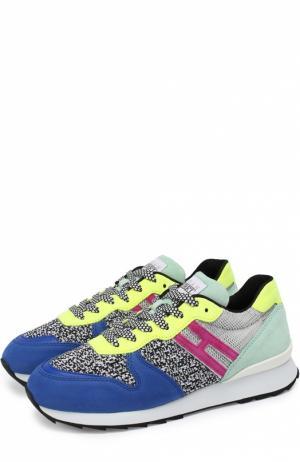 Замшевые кроссовки с вставками из текстиля Hogan. Цвет: разноцветный