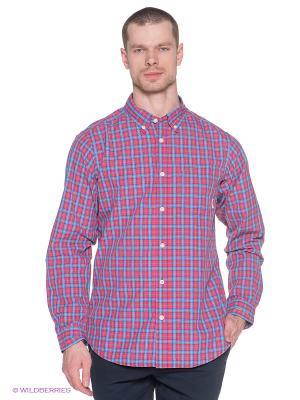 Рубашка Columbia. Цвет: красный, бирюзовый