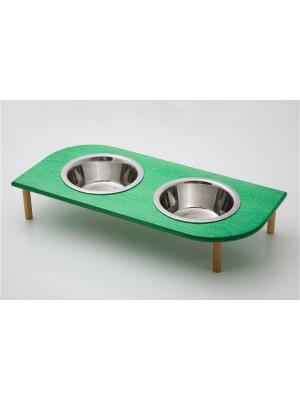 Подставка для кормления животных (дерево) 2*480мл , размеры: 395х200х90мм. Doggy Style. Цвет: темно-зеленый