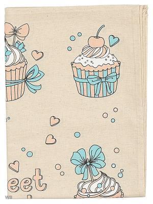 Полотенце льняное Пироженки GrandStyle. Цвет: розовый, бирюзовый, серый