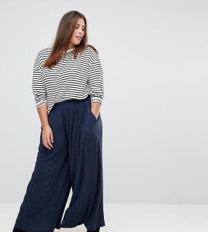 Glamorous Curve Широкие брюки из плиссированной ткани. Цвет: темно-синий
