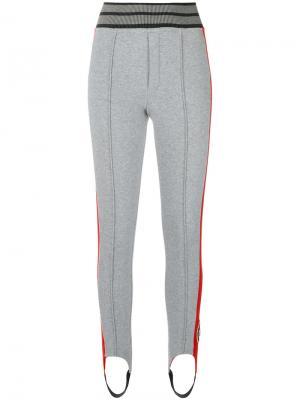 Спортивные леггинсы с вышивкой Mr & Mrs Italy. Цвет: серый