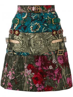 Жаккардовая юбка А-силуэта Dolce & Gabbana. Цвет: многоцветный