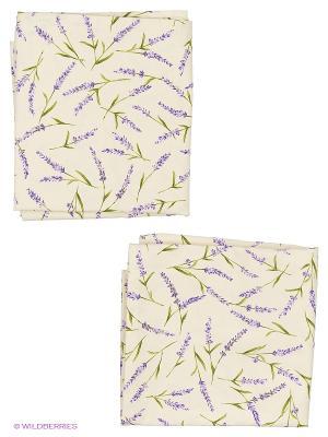 Комплект портьер Лаванда  150х270 см T&I. Цвет: молочный, белый, зеленый, фиолетовый