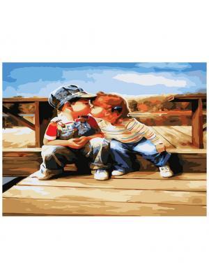 Живопись на холсте 30х40 см. Поцелуй у реки (179-AS) Белоснежка. Цвет: белый