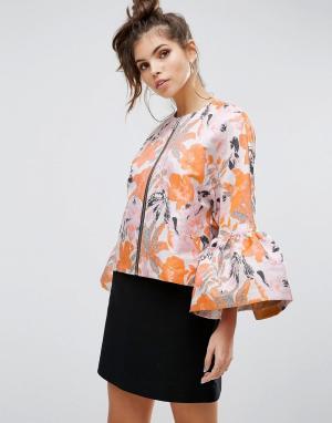 ASOS Нарядная жаккардовая куртка с расклешенными рукавами Premium. Цвет: мульти