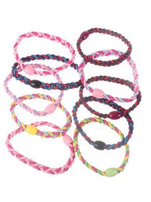 Резинки двойные плетеные с бусиной, набор 10 штук Радужки. Цвет: синий,зеленый,красный
