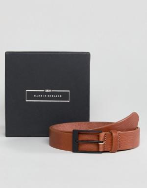 ASOS Светло-коричневый узкий кожаный ремень Made In England. Цвет: рыжий