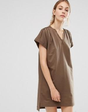 People Tree Платье-туника с закатанными рукавами из органического хлопка Tr. Цвет: зеленый