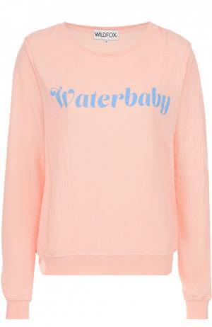 Пуловер прямого кроя с контрастной надписью Wildfox. Цвет: розовый