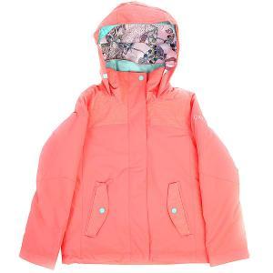 Куртка утепленная детская  Jetty So Neon Grapefruit Roxy. Цвет: темно-розовый